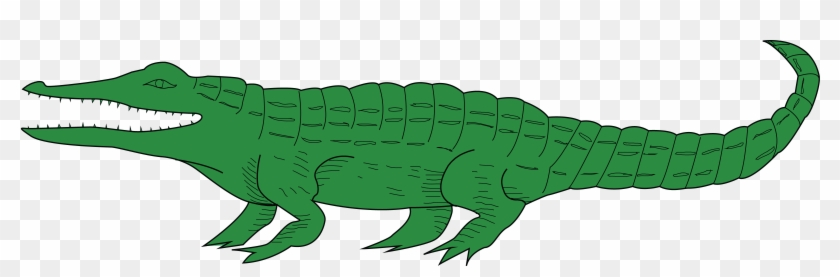 Free Clipart Of A Green Alligator - Crocodile Coat Of Arms #240607