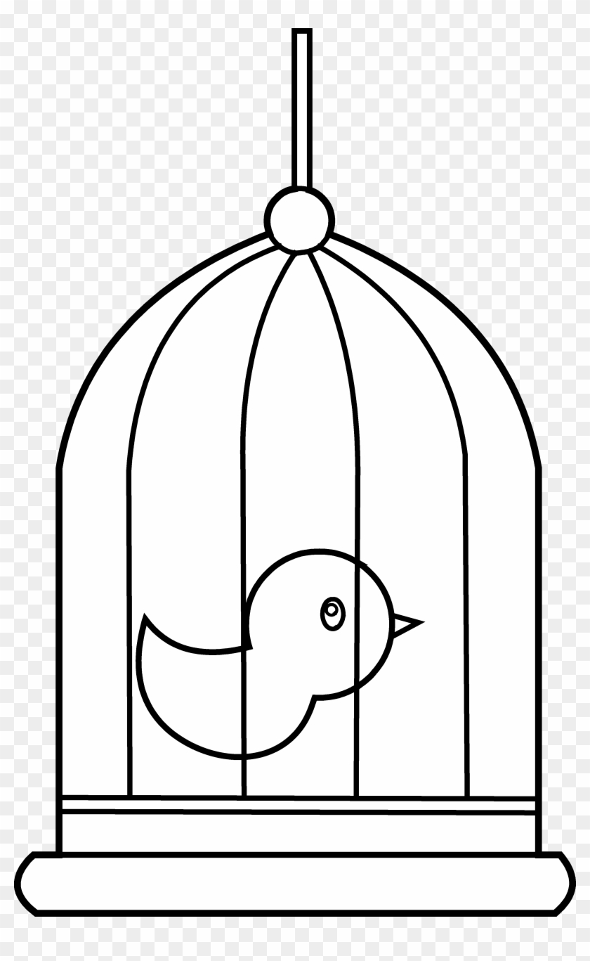 Bird In Cage Coloring Page Free Clip Art