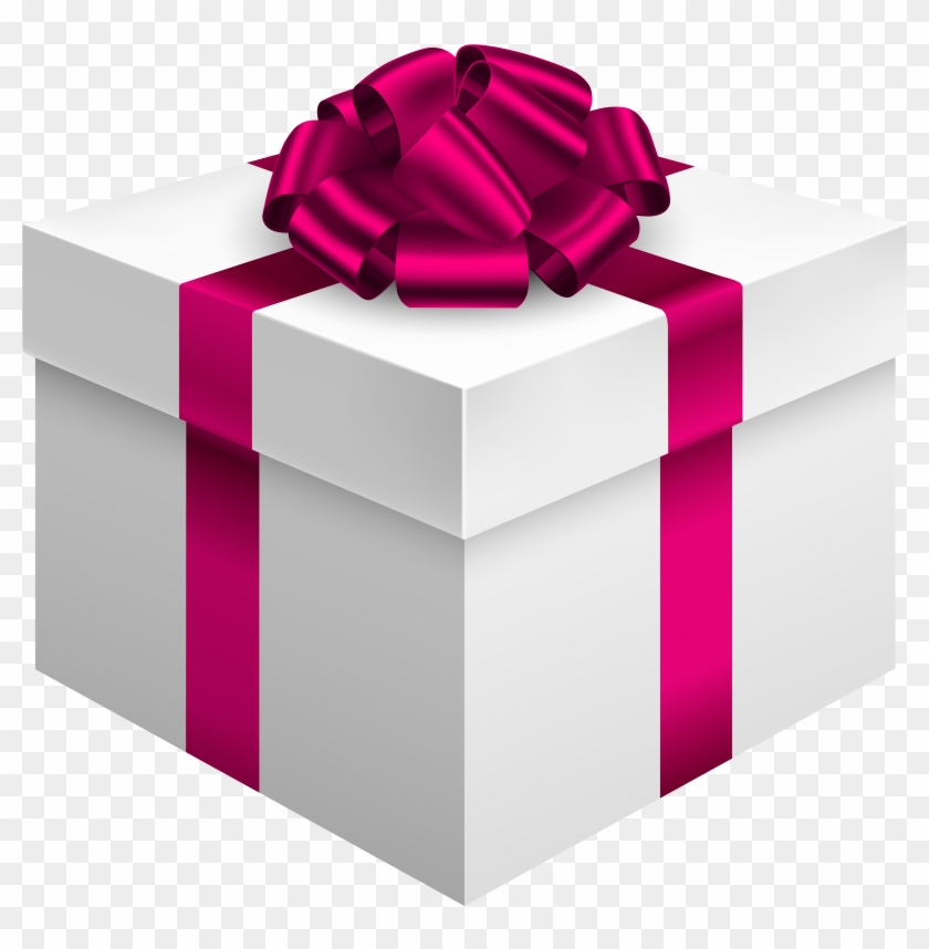 White Gift Box With Pink Bow Png Clipart - Pink Gift Box Png #36340