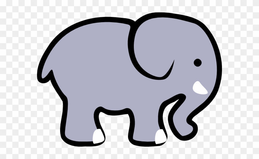 Cute Elephant Clipart Black And White - Simple Cartoon Elephant #36636