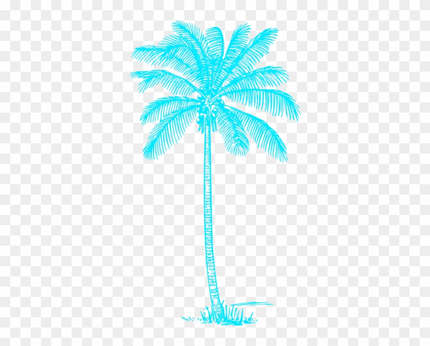 Blue Palm Tree Clip Art At Clker Com Vector Clip Art - Light Blue Palm Tree #36765