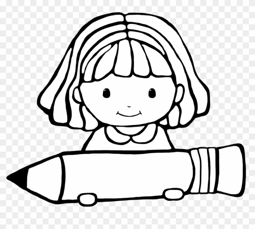 Writing Clipart Black And White - Clipart Student Black And White #37013