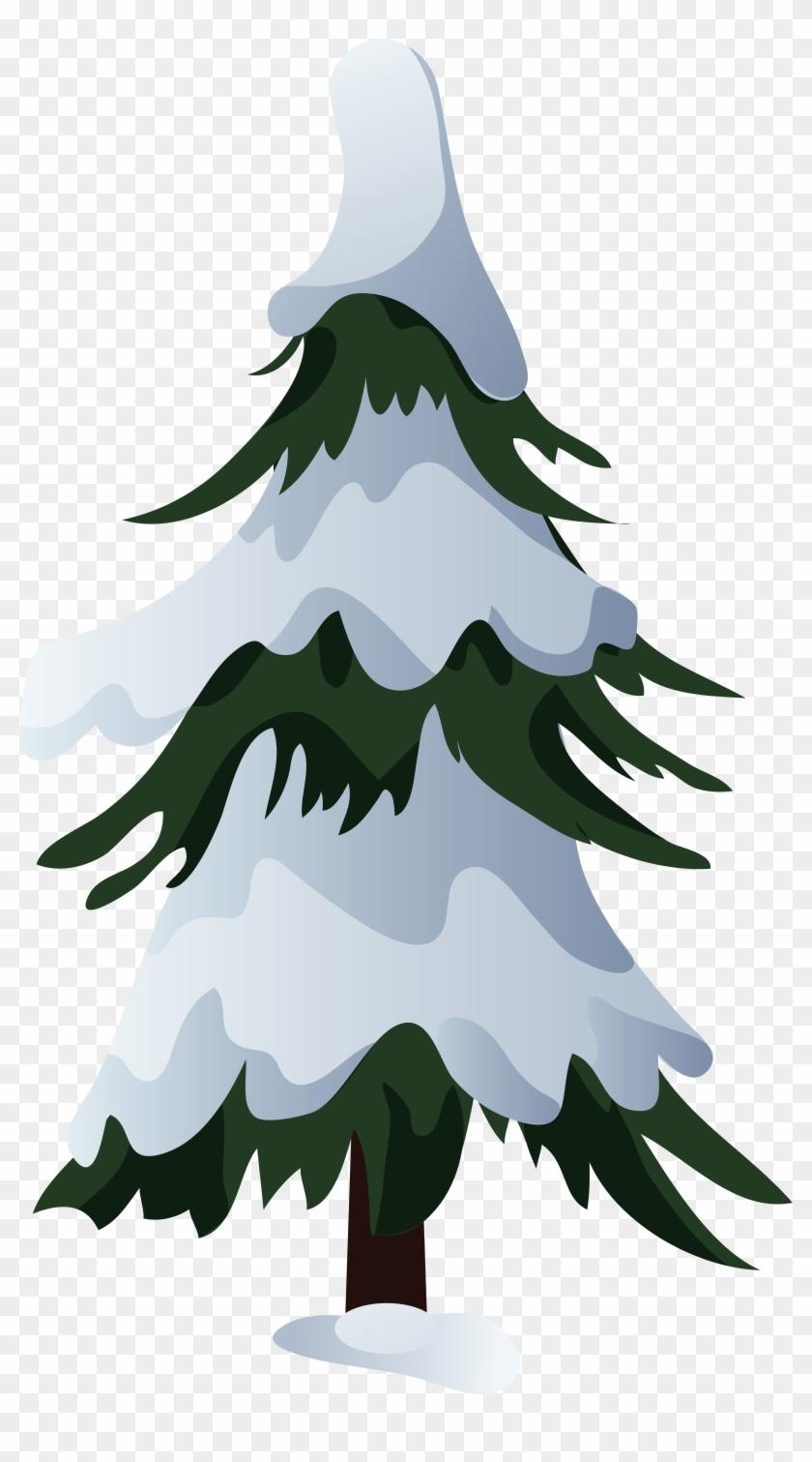 0, - Tree Cartoon With Snow #37061