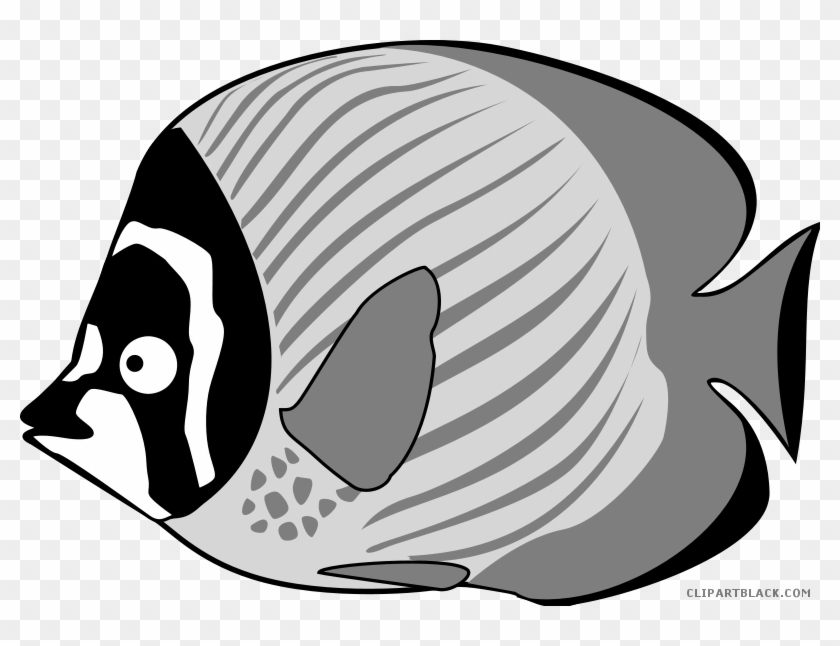 Tropical Fish Animal Free Black White Clipart Images - Clipart Cartoon Fish #37270