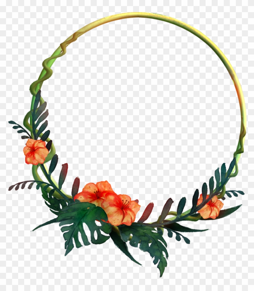 932 Round Tropical Frame 01 By Tigers-stock - Round Flower Frame Png #37352