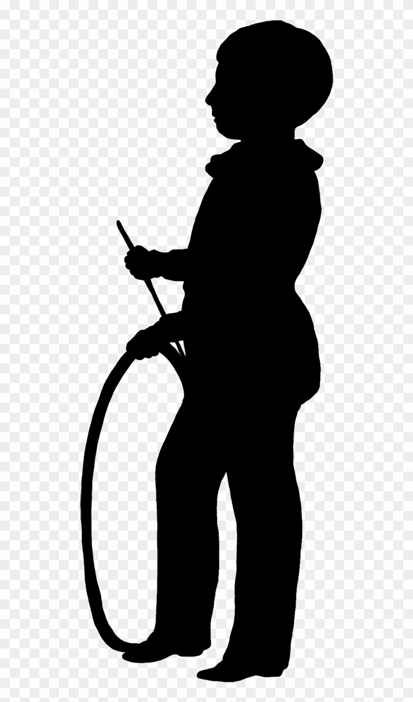Silhouette Of Boy With His Hoop - Silhouette Dancing Transparent Bg #37632