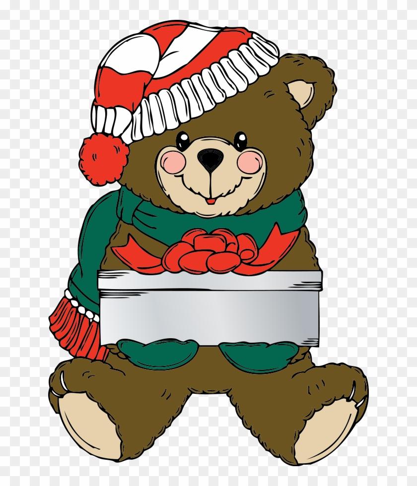 Christmas Bear Wih Present Clip Art Free Vector - Christmas Teddy Bear Clip Art #37748
