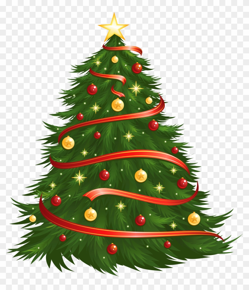 Large Size Transparent Decorated Christmas Tree Png - Christmas Tree Vector Png #38295