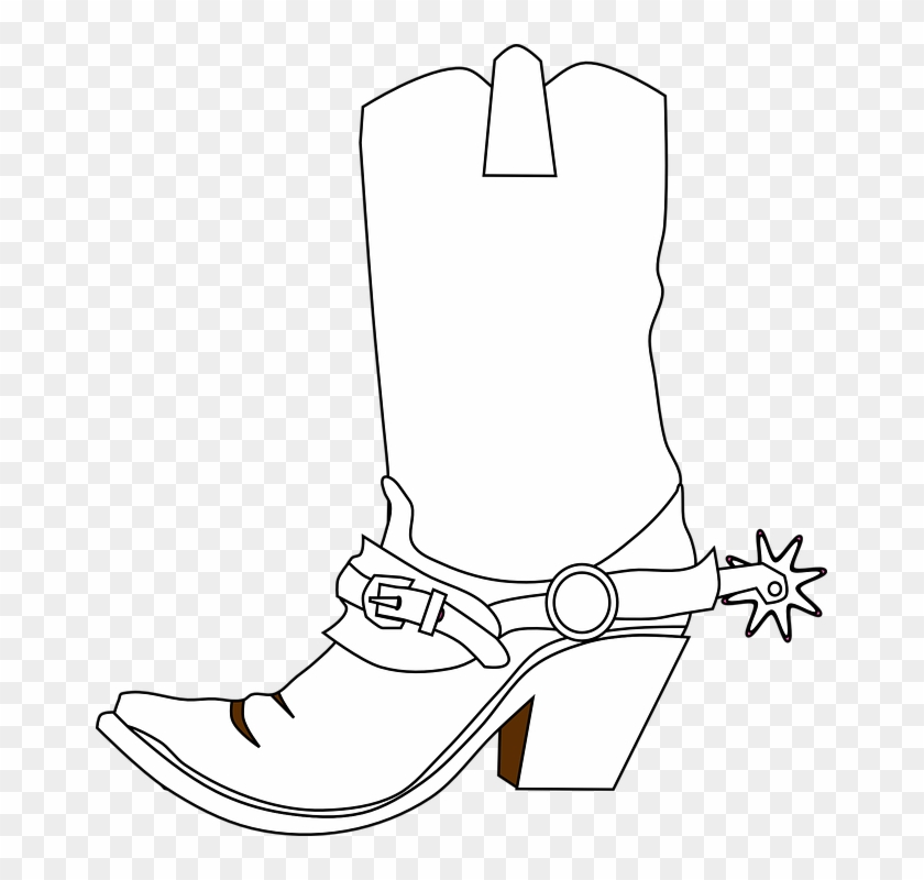 Cowboy Boots Spurs Boots Western Boots Bronco Boots - Black And White Old West Cowboy Boots Clipart #38474