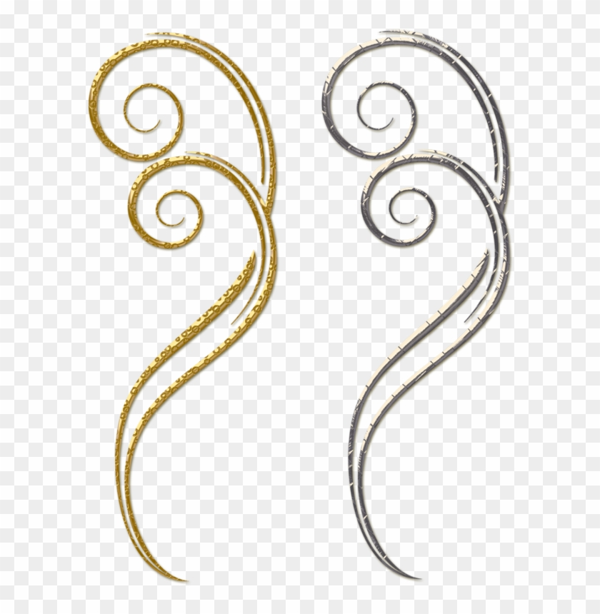 Gold And Silver Decorative Ornaments Png Clipart - Swirl Clips Gold Png #38484