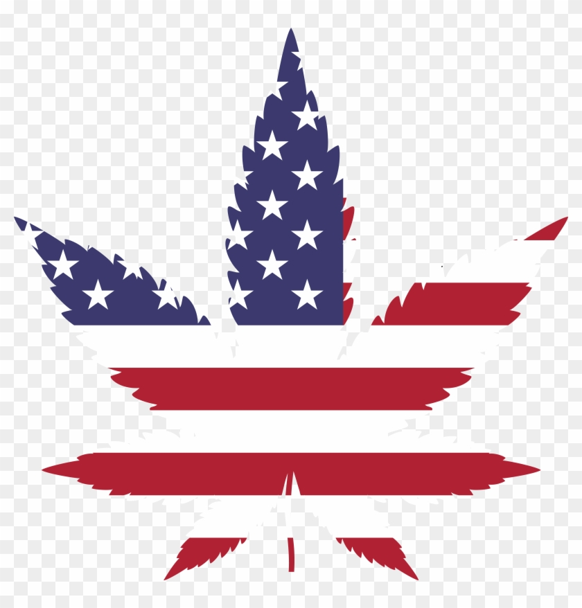 Free Clipart Of A Pot Leaf With An American Flag Pattern - Marijuana Leaf American Flag #39153