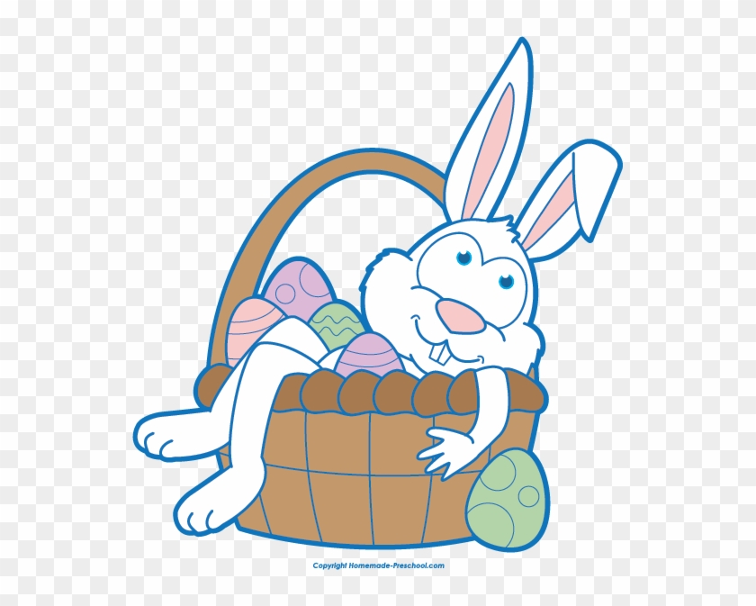 Click To Save Image - Easter Bunny With Basket Clip Art #39735