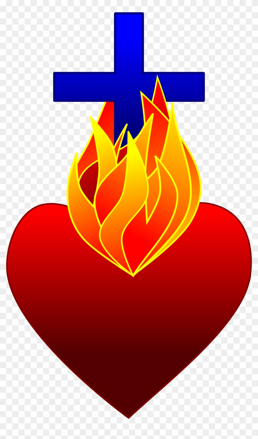 Clipart - Jesus Heart On Fire #39755
