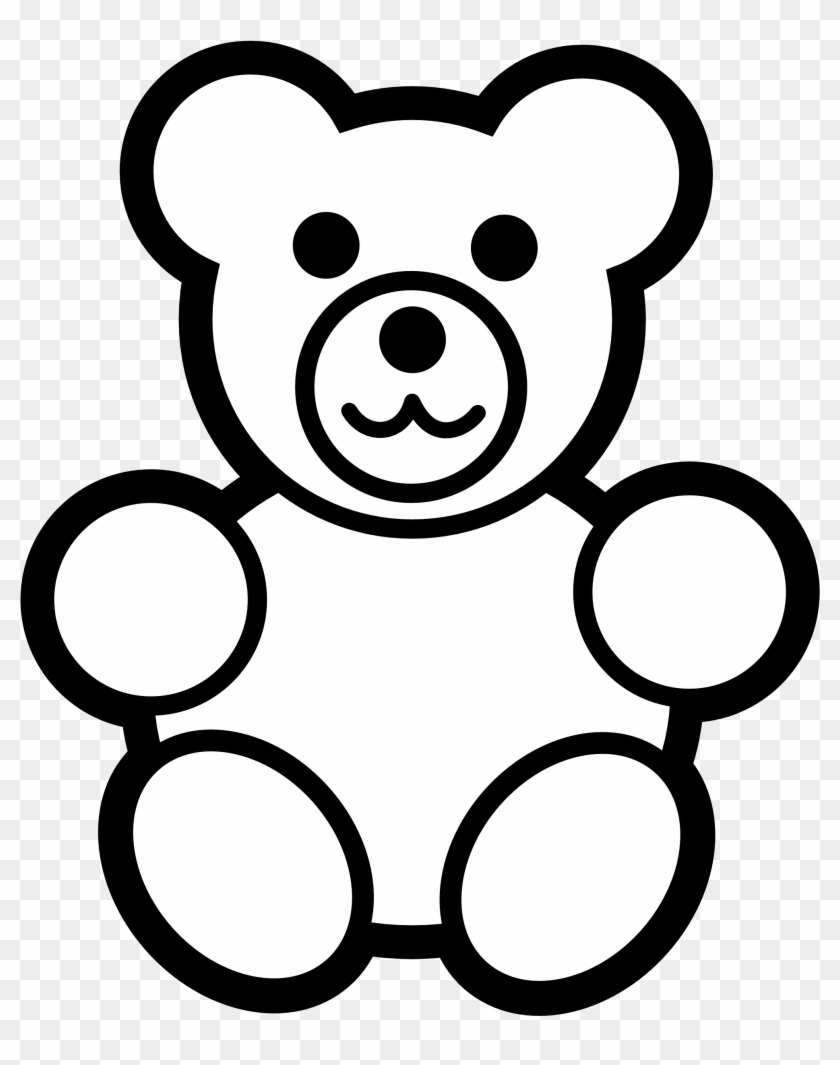 Teddy Bear Clipart Black And White - Teddy Bear Coloring Page #39932