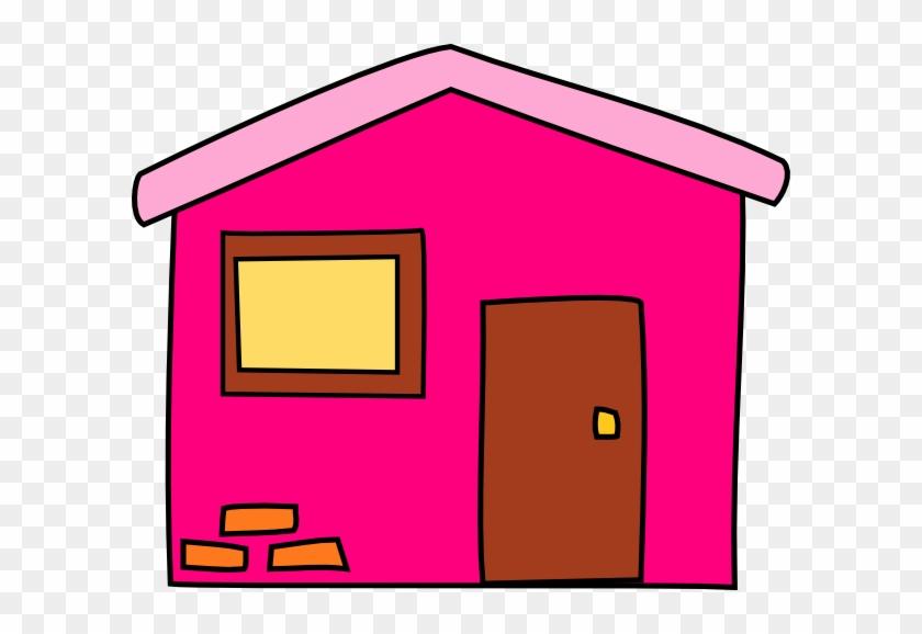 Pink House Svg Clip Arts 600 X 498 Px - House Clip Art Pink #40041