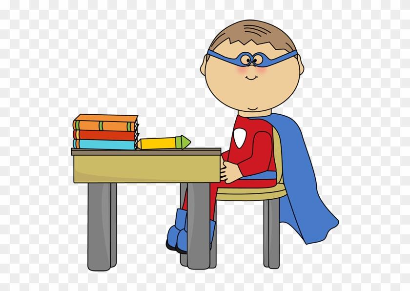 Boy Superhero At School Desk Clip Art - Superhero At School #41277