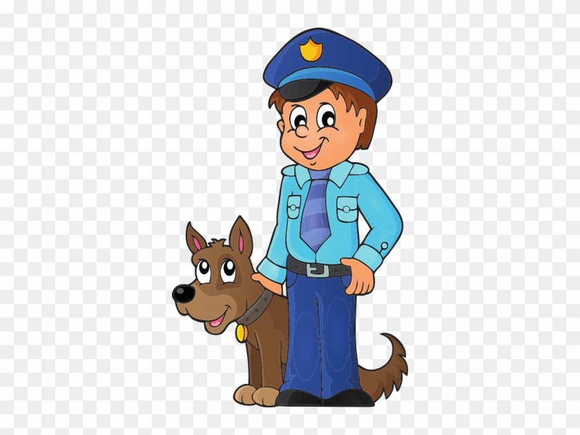 Policeman With Guard Dog - Police Officer With Dog Clipart #42159