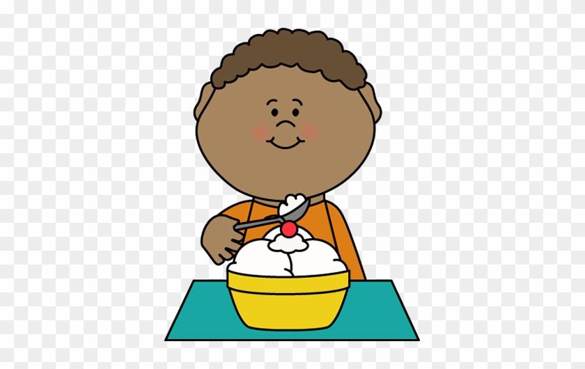 Boy Eating Vanilla Ice Cream - Eating Ice Cream Clipart #42577