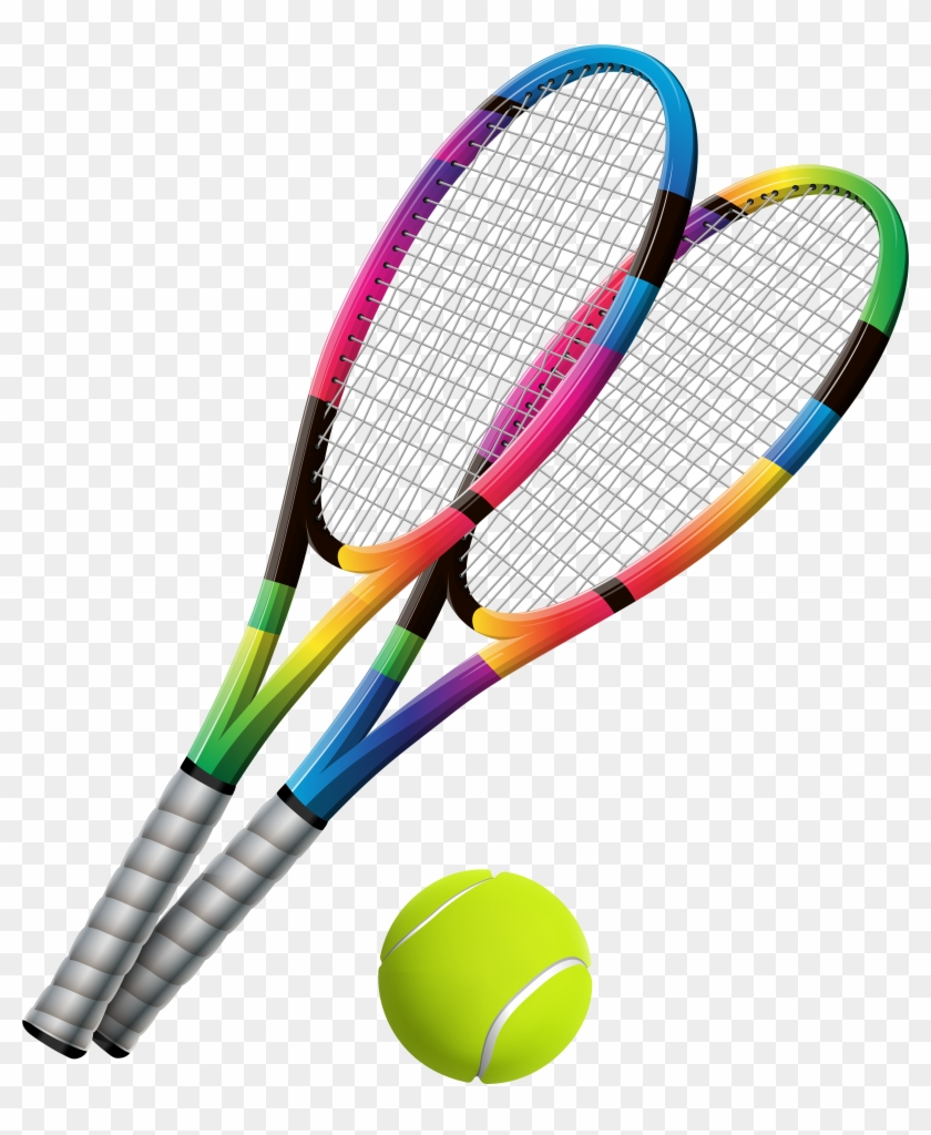 Tennis Rackets And Ball Transparent Png Clip Art - Tennis Racket And Ball Png #42711