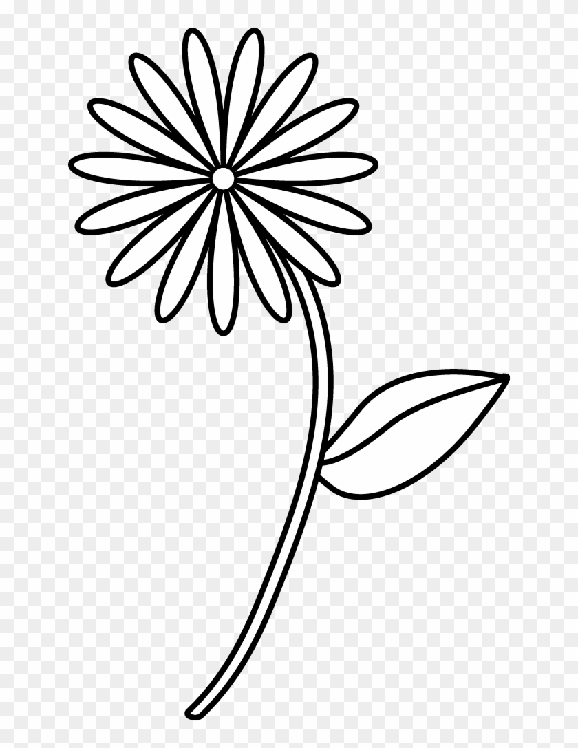 Simple Flower Coloring Page - Easy Flower Line Drawing ...