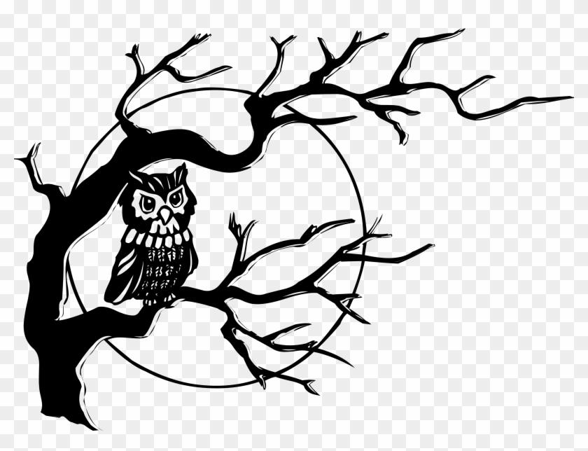 Owl On Tree Branch Clip Art - Owl Clip Art #44210
