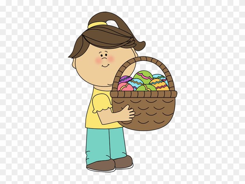 Easter - Girl Holding A Basket Clipart #44381