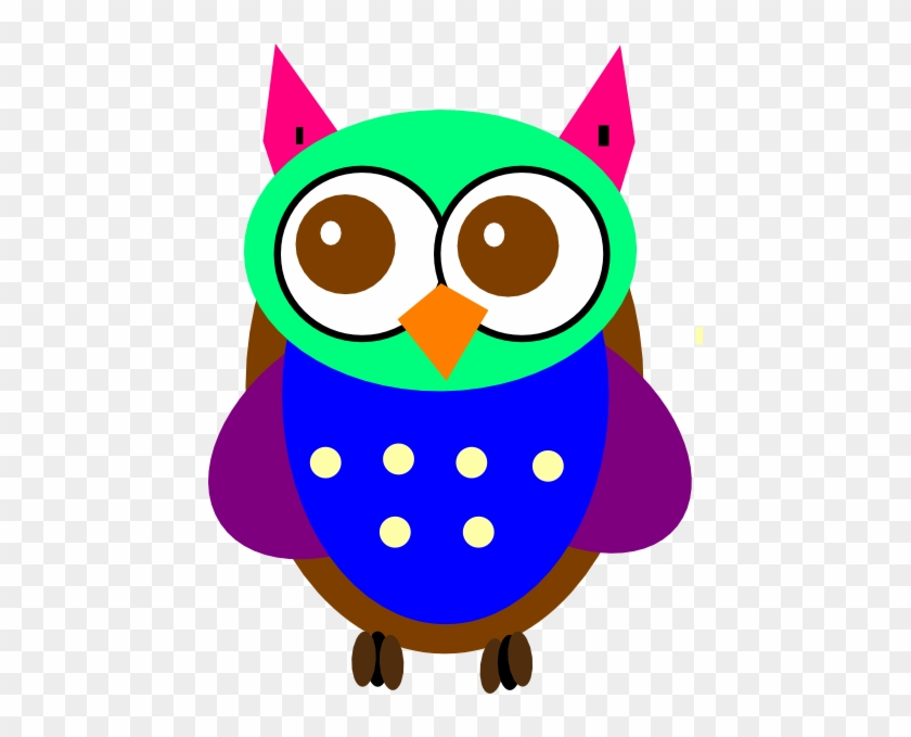 Colorful Baby Owl Clip Art - Cute Colorful Blue Owl #44562
