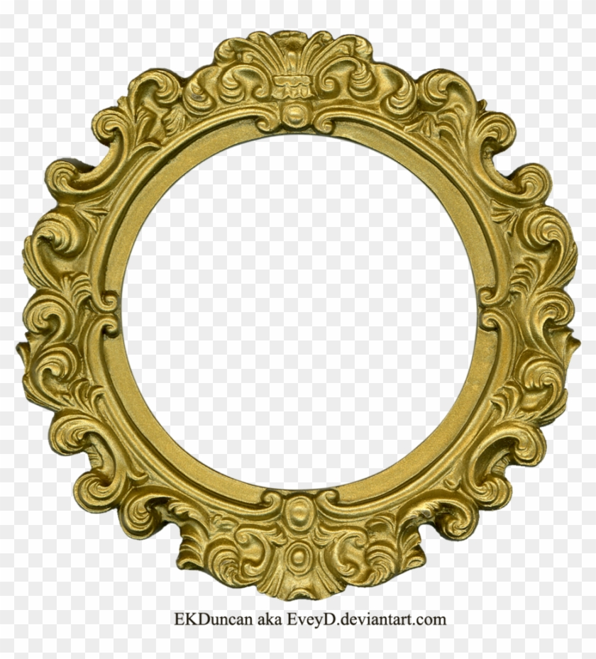 Golden Round Frame Png Clipart - Gold Oval Frame Png #243585