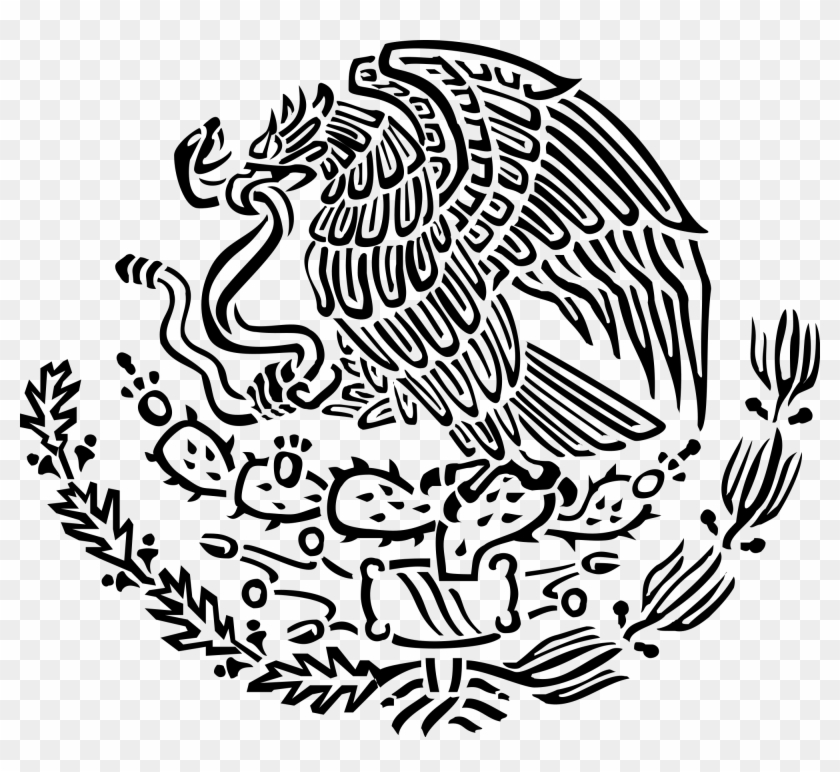 Modest Black And White Mexican Flag Mexico Drawing - Mexican Coat Of Arms Png #244789