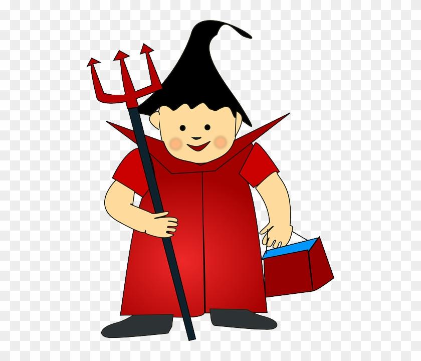 Children Devil, Trident, Costume, Boy, Cheerful, Children - Halloween Costume Clipart Png #244873