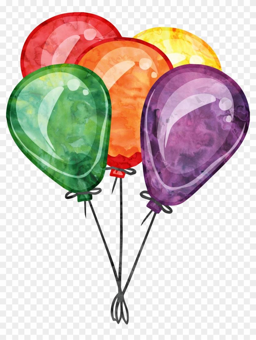Birthday Balloon Party Clip Art - Birthday Balloon Watercolor Png #246341