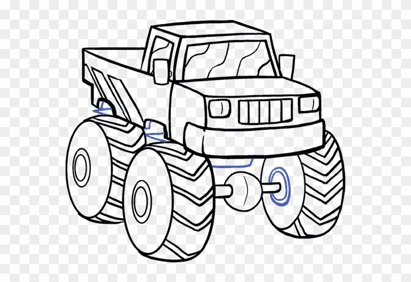 Pickup Car Monster Trucks White Black And Easy Truck Drawing Cartoon Free Transparent Png Clipart Images Download