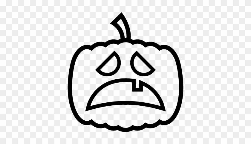 Halloween Pumpkin Sad Scared Face Outline Vector - Halloween Pumpkin Sad Face #1590827
