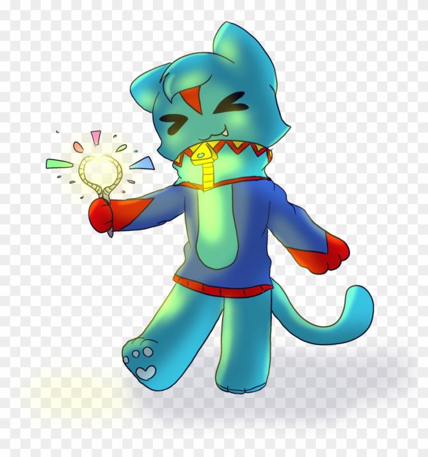 Shark Cat With A Sparkler - Cartoon #1593719