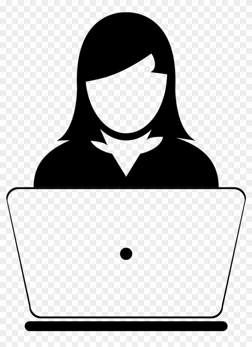 Computer Users Clipart - Woman With Computer Icon #1596571