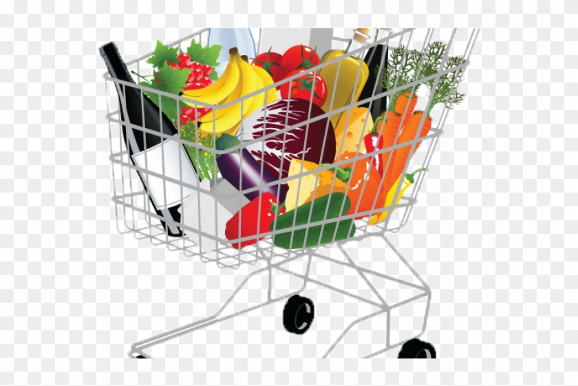 Basket Clipart Grocery Shopping - Supermarket Shopping Cart Png #1598124