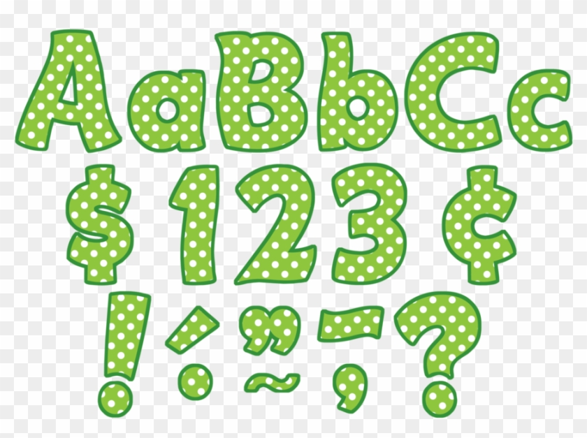 "Tcr5345 Lime Polka Dots Funtastic 4"" Letters Combo - Teacher Created Resources Funtastic Letters Combo Pack #1599349"