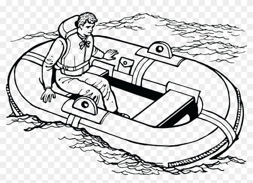 Free Clipart Of A Man In A Life Raft - Water Transportation Coloring Pages #247382