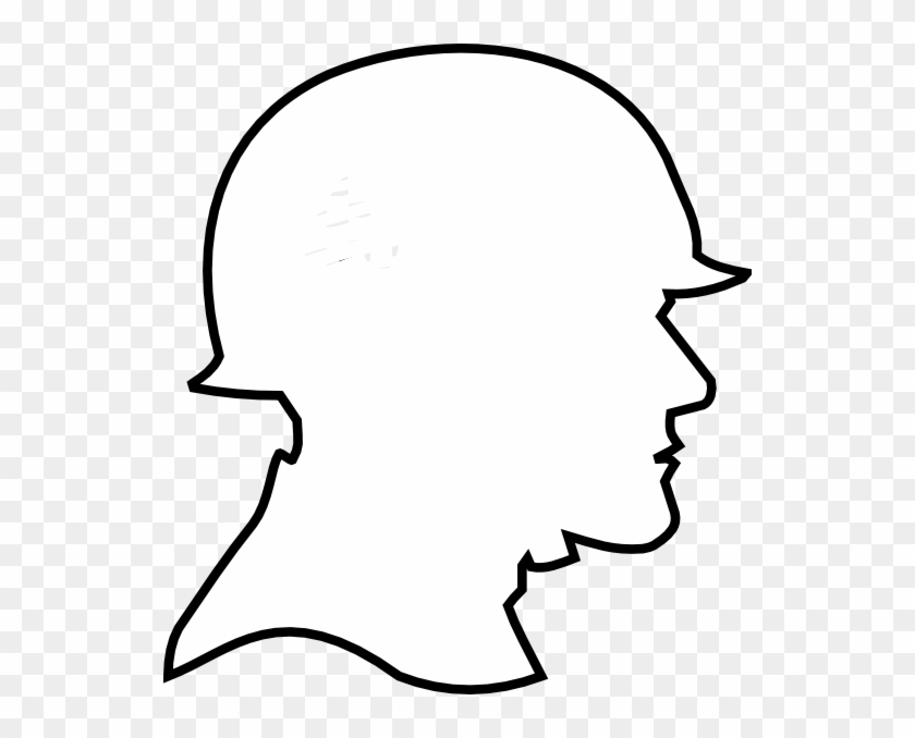 Soldier Outline Clip Art At Clker - Silhouette Of A Soldier's Head #247608