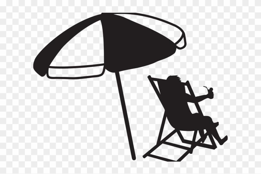 Black Vacation Cliparts - Beach Umbrella Black And White #249317