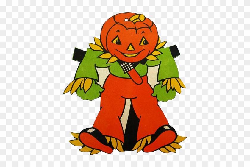 1950s Vintage Die Cut Halloween Decoration Jol Scarecrow - Scarecrow - Art Print - 12x18 Poster - 19.99 #249509