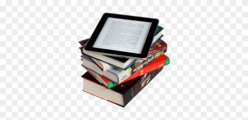 Download E-book On Top Of Book Pile Transparent Png - Computer Will Soon Replace The Book #1604717