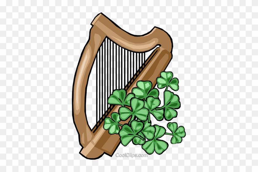 Harp Royalty Free Vector Clip Art Illustration - Irish Harp Clip Art #1611636