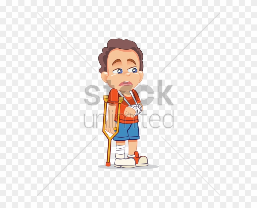Injured Boy In Crutches Vector Image Stockunlimited - Sydney Tower Eye Drawing #1614478