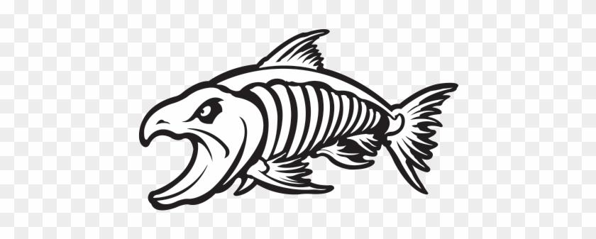 Printed Vinyl Aggressive Salmon Fish Skeleton - Salmon Fish Skeleton Clipart #1622552