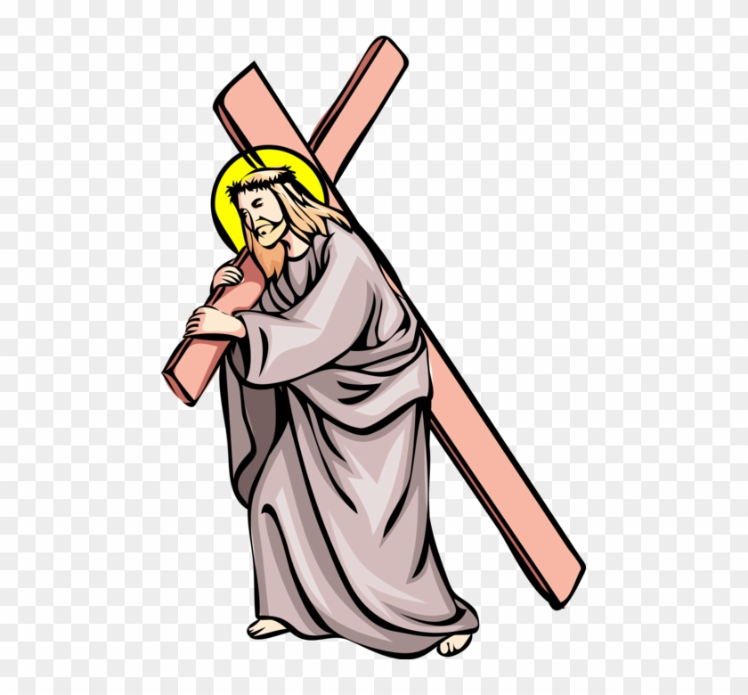 Vector Illustration Of Jesus Christ Carries Cross To - Clipart Stations Of The Cross #1623161