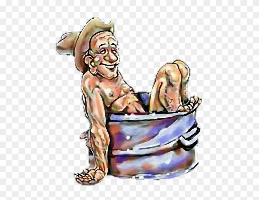 Hillbilly Redneck Bathtub Bathing Inbred Man Boy - Redneck