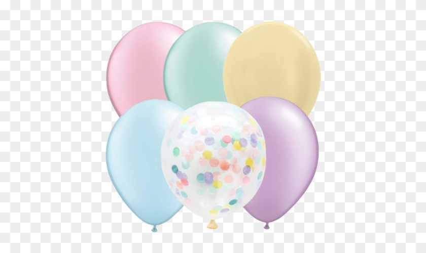 Balloons And Confetti Clipart - Pastel Balloons Png #1624495