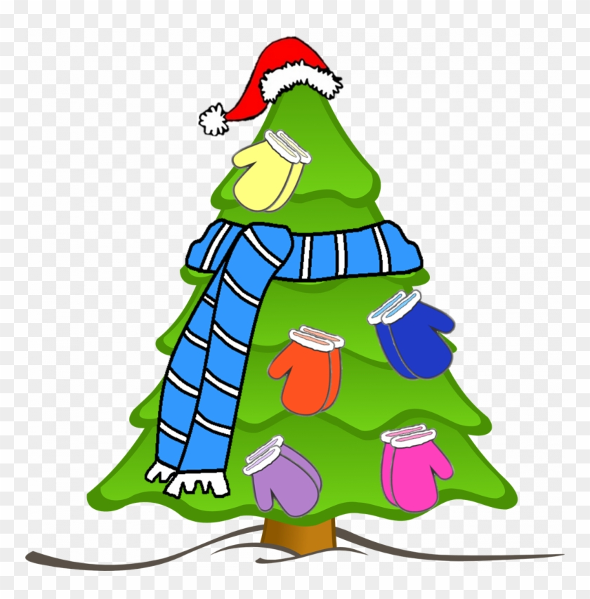 Scarf Hat Mitten Tree Clip Art Car Pictures Car Canyon - Christmas Tree And Bells Drawing #1625923