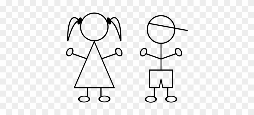 Stick Figure Drawing Child Female Girl - Stick Boy And Girl #1629016